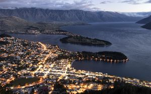 Preview wallpaper island, lights, sea, aerial view, twilight, dark