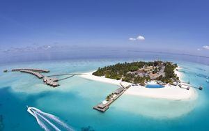 Preview wallpaper island, resort, land, ocean, palm trees, azure, sky, from above, huts, canopies, pool, boat, paradise, tropics