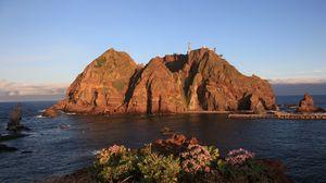 Preview wallpaper island, rocks, dokdo, korea, south gyeongsang province