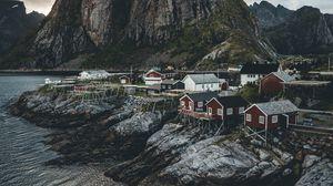Preview wallpaper island, rocks, houses, coast, village, norway