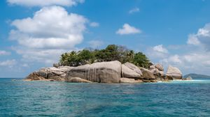 Preview wallpaper island, rocks, trees, water, sea