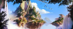 Preview wallpaper island, sea, sky, waterfall, trees