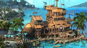 Preview wallpaper island, ship, house, ocean, palm trees