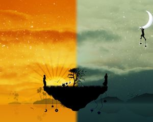 Preview wallpaper island, tree, worlds, people, silhouettes, night