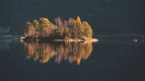 Preview wallpaper island, trees, lake, water, nature
