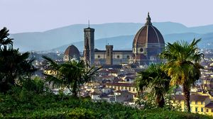 Preview wallpaper italy, florence, tuscany, dome, palm trees