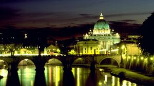 Preview wallpaper italy, rome, basilica, bridge angel, st peters square, night, lights, reflection, vatican