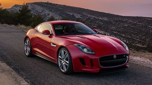 Preview wallpaper jaguar, f-type, red, side view, coupe