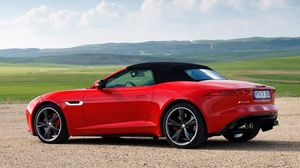 Preview wallpaper jaguar, f-type, v8 s, side view, red