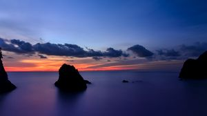 Preview wallpaper japan, shizuoka prefecture, island, beach, cliffs, ocean, calm, evening, orange, sunset, blue, sky, clouds