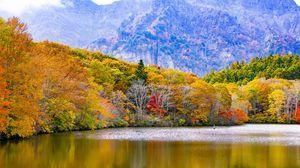 Preview wallpaper japan, togakushi, lake, mountains, trees, autumn