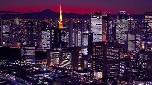 Preview wallpaper japan, tokyo, buildings, night, city