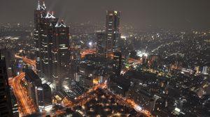 Preview wallpaper japan, tokyo, night, lights city, top view
