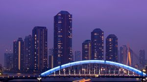 Preview wallpaper japan, tokyo, the capital, metropolis, skyscrapers, night, bridge, lighting, exposure, lights, river, lilac, sky