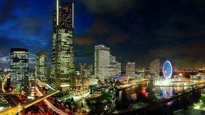 Preview wallpaper japan, yokohama, evening, metropolis, development, city lights