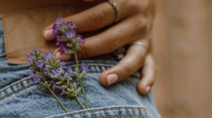 Preview wallpaper jeans, pocket, flowers, hand, ring