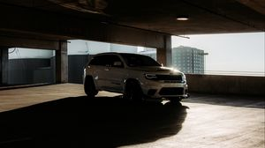 Preview wallpaper jeep, car, suv, white, light, parking