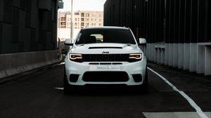 Preview wallpaper jeep, car, suv, white, road