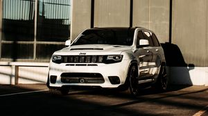 Preview wallpaper jeep, car, suv, white, building, parking