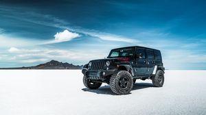 Preview wallpaper jeep, suv, car, black, desert, sky