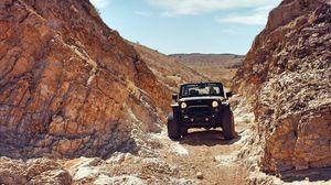 Preview wallpaper jeep, suv, rocks, desert