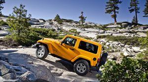 Preview wallpaper jeep, wrangler, yellow, mountains