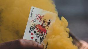 Preview wallpaper joker, playing card, smoke, yellow, hand