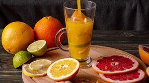 Preview wallpaper juice, drink, glass, fruit, citrus