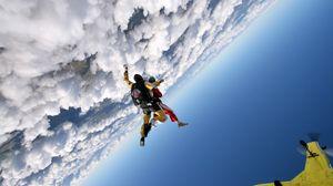 Preview wallpaper jump, clouds, sky, plane, parachutists