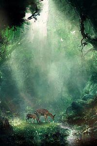 Preview wallpaper jungle, fantasy, deer, butterflies, night, trees