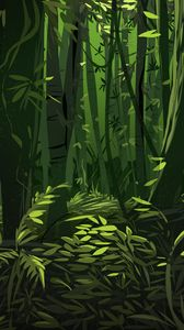 Preview wallpaper jungle, trees, leaves, plants, art, green