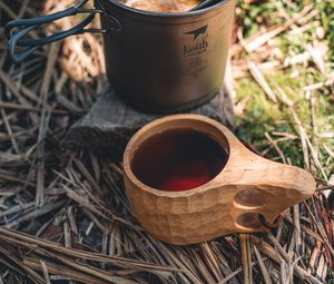 Preview wallpaper kettle, mug, drink, camping, aesthetics