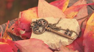 Preview wallpaper key, metal, leaves, autumn, red, chain, stone, board