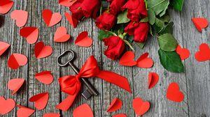 Preview wallpaper key, ribbon, hearts, roses