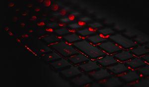 Preview wallpaper keyboard, backlight, red, glare, bokeh
