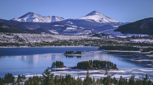 Preview wallpaper keystone, united states, lake, mountains, winter