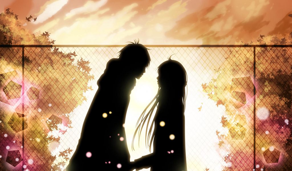 1024x600 Wallpaper kimi ni todoke, girl, boy, love, feelings, meet, date, fall, leaves