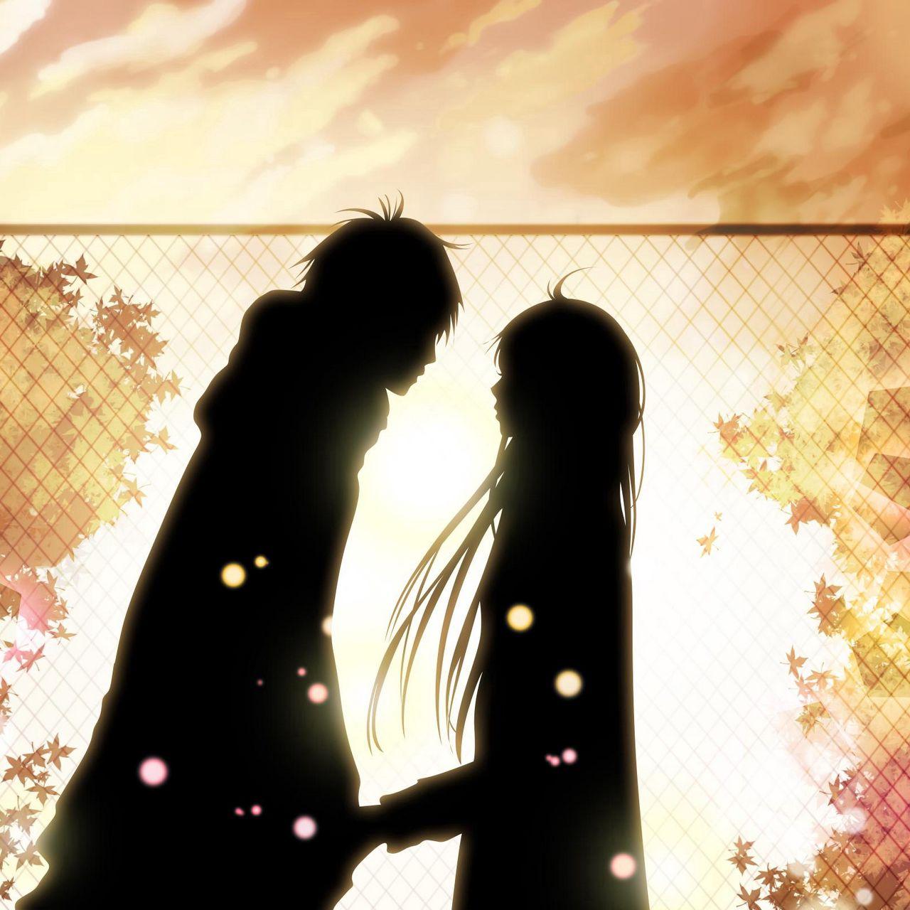 1280x1280 Wallpaper kimi ni todoke, girl, boy, love, feelings, meet, date, fall, leaves