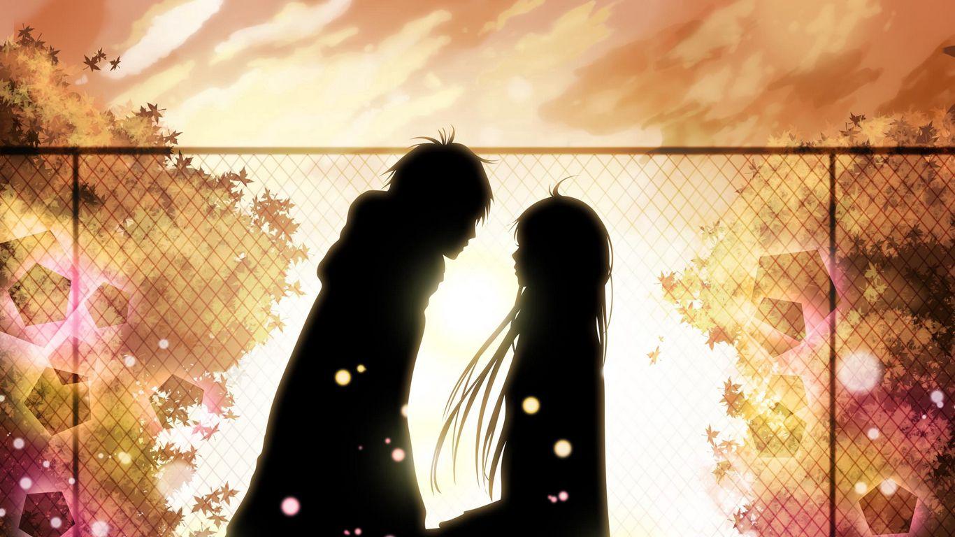 1366x768 Wallpaper kimi ni todoke, girl, boy, love, feelings, meet, date, fall, leaves