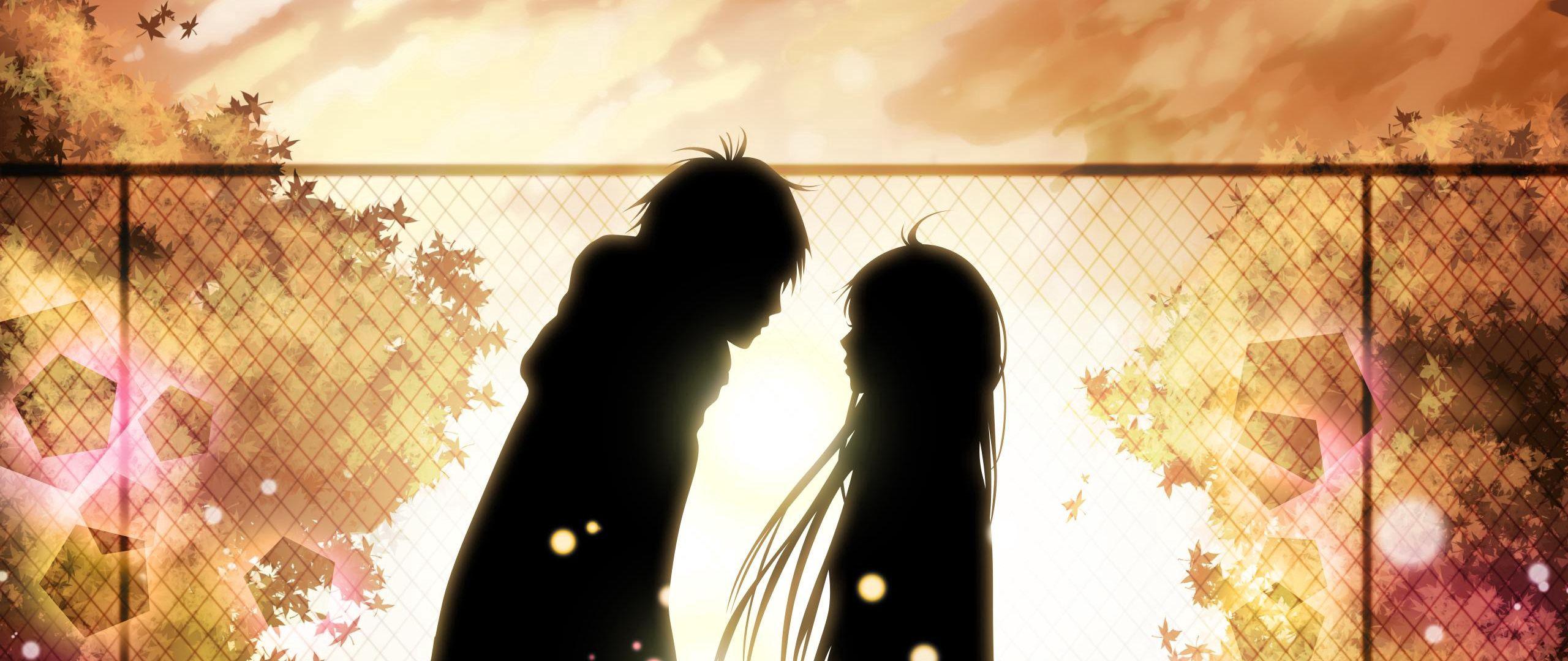 2560x1080 Wallpaper kimi ni todoke, girl, boy, love, feelings, meet, date, fall, leaves