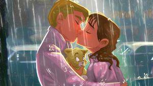 Preview wallpaper kiss, couple, art, love, kitten, rain