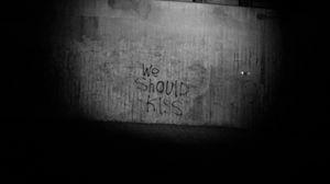 Preview wallpaper kiss, inscription, bw, wall, text