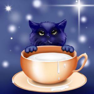 Preview wallpaper kitten, milk, cup, art, cute