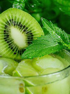 Preview wallpaper kiwi, mint, fruit, drink, glass, drops