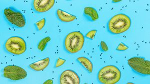 Preview wallpaper kiwi, slices, mint, leaves, grains