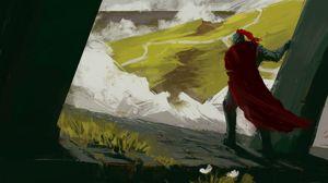 Preview wallpaper knight, armor, cloak, canvas, paint, art