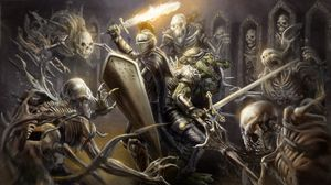 Preview wallpaper knight, armor, helmet, weapon, sword, fire, shield, crocodile skeletons, art