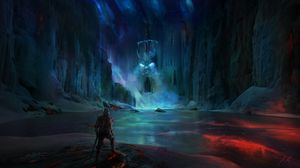 Preview wallpaper knight, lake, cave, castle, scary, fantasy, art