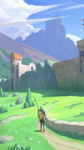 Preview wallpaper knight, warrior, castle, middle ages, fantasy, art