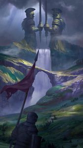 Preview wallpaper knight, warrior, hills, waterfall, middle ages, fantasy, art